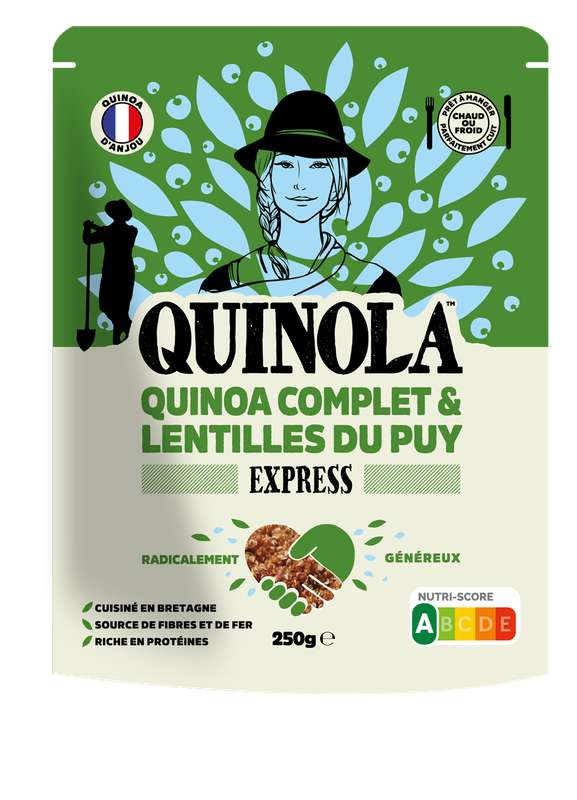Quinoa express complet et lentilles vertes du Puy, Quinola (250 g)