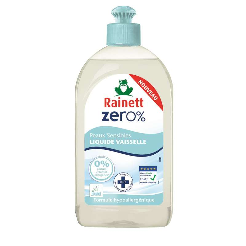 Liquide vaisselle 0% pour peaux sensibles, Rainett (500 ml)