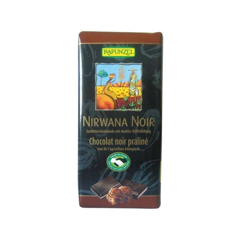 Chocolat noir 55% de cacao Nirwana fourré au praliné BIO, Rapunzel (100 g)