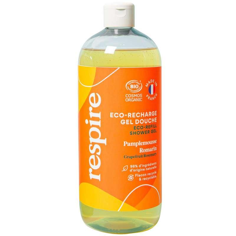 Recharge Gel douche naturel Pamplemousse Romarin BIO, Respire (1l)