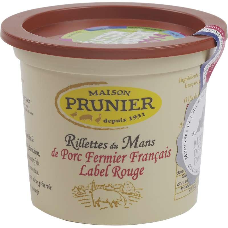 Rillettes du Mans Label Rouge pur porc fermier, Maison Prunier (220 g)