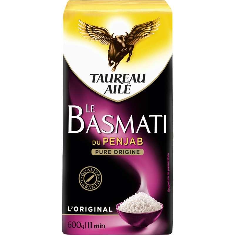 Riz basmati penjab long grain naturellement parfumé, Taureau Ailé (600 g)
