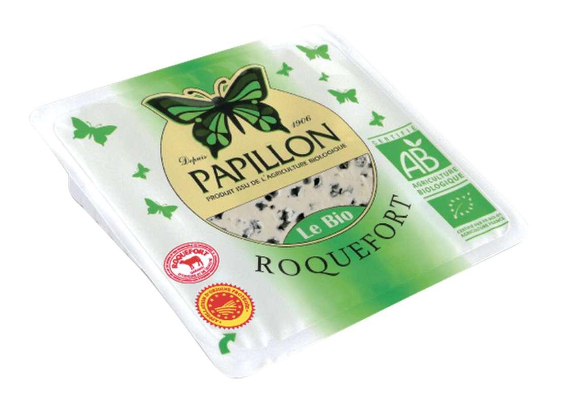 Roquefort AOP BIO au lait cru et entier de brebis, 32 % MG/PF, Papillon (100 g)