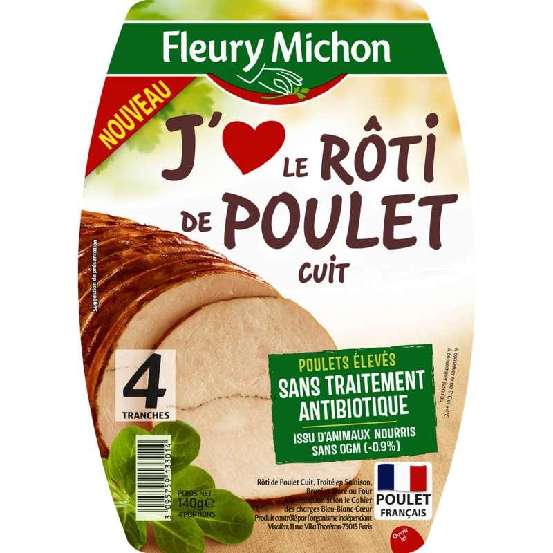 Rôti de poulet cuit J'aime, Fleury Michon (4 tranches, 140 g)