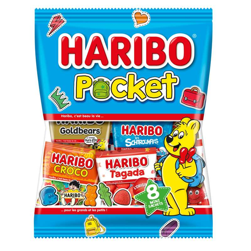 Sachet pocket, Haribo (10 sachets, 380 g)
