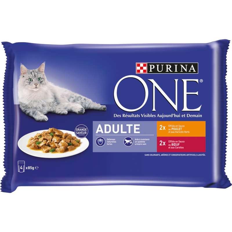 Sachets repas pour chat adulte au poulet et au boeuf, Purina One (4 x 85 g)