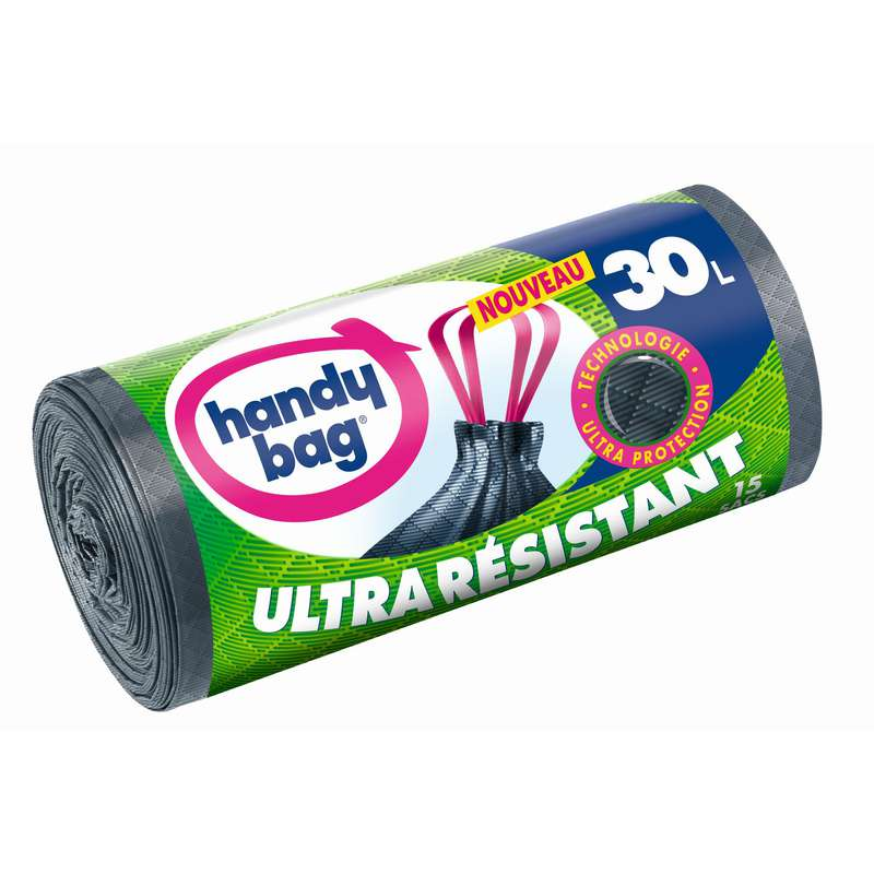 Sacs poubelle ultra résistants coulissants, Handy Bag (15 x 30 L)