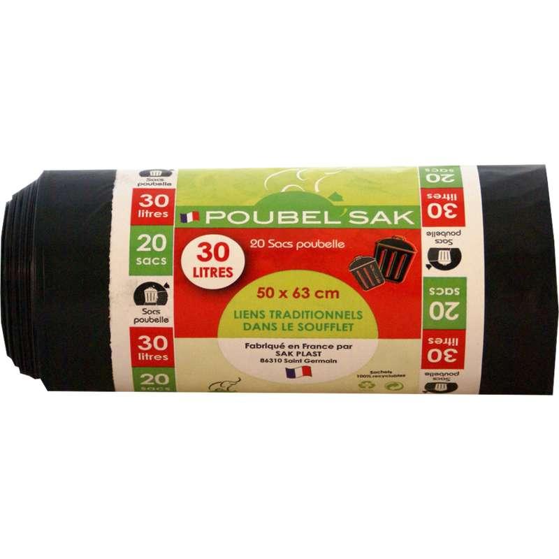 Sacs poubelle noir, Poubel'sak (20 x 30 L)