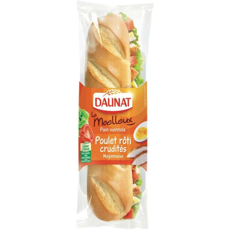 Sandwich baguette poulet rôti crudités, Daunat (230 g)