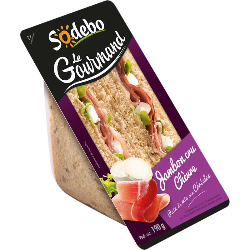 Sandwich Le Gourmand jambon cru chèvre, Sodebo (190 g)