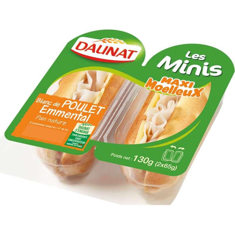 Sandwich mini viennois poulet emmental, Daunat, (2 x 65 g)