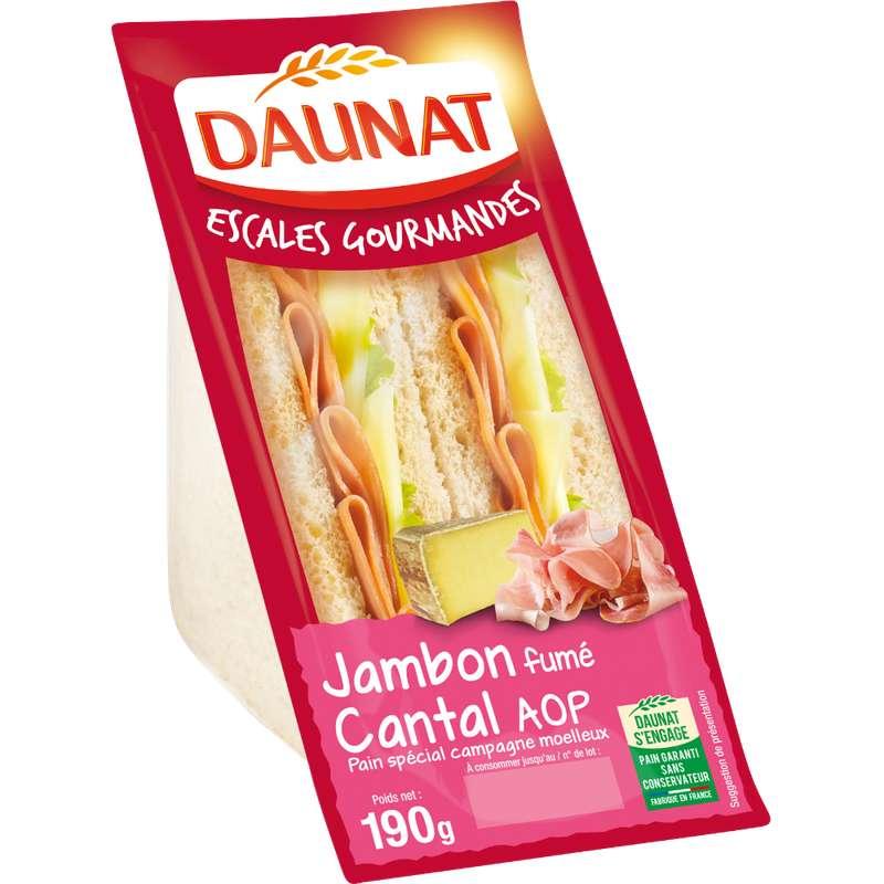 Sandwich Escale gourmande jambon fumé cantal AOP, Daunat (190 g)