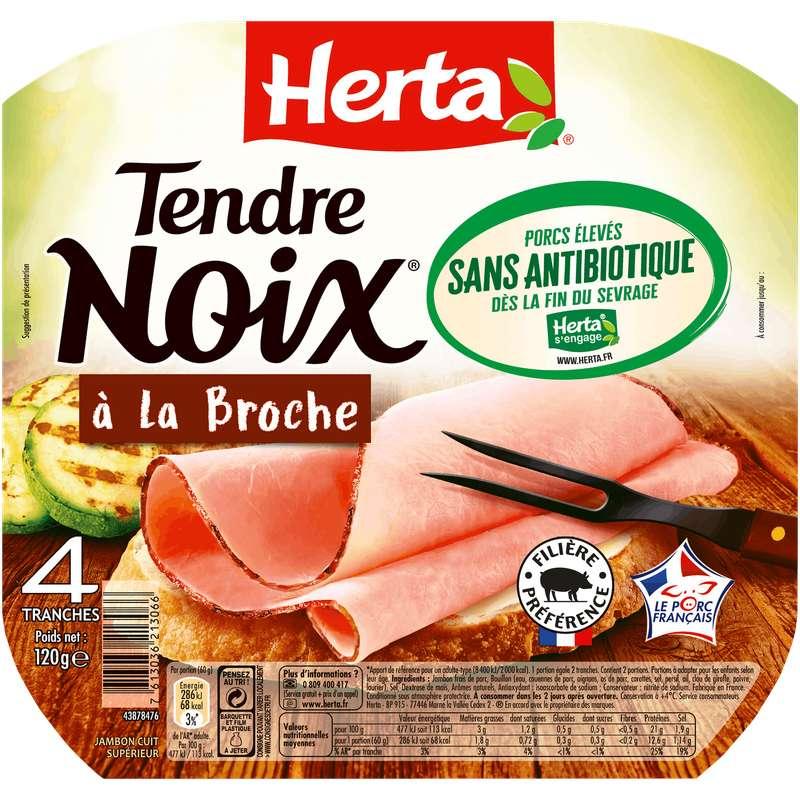 Jambon tendre noix à la broche sans antibiotiques, Herta (4 tranches, 120 g)