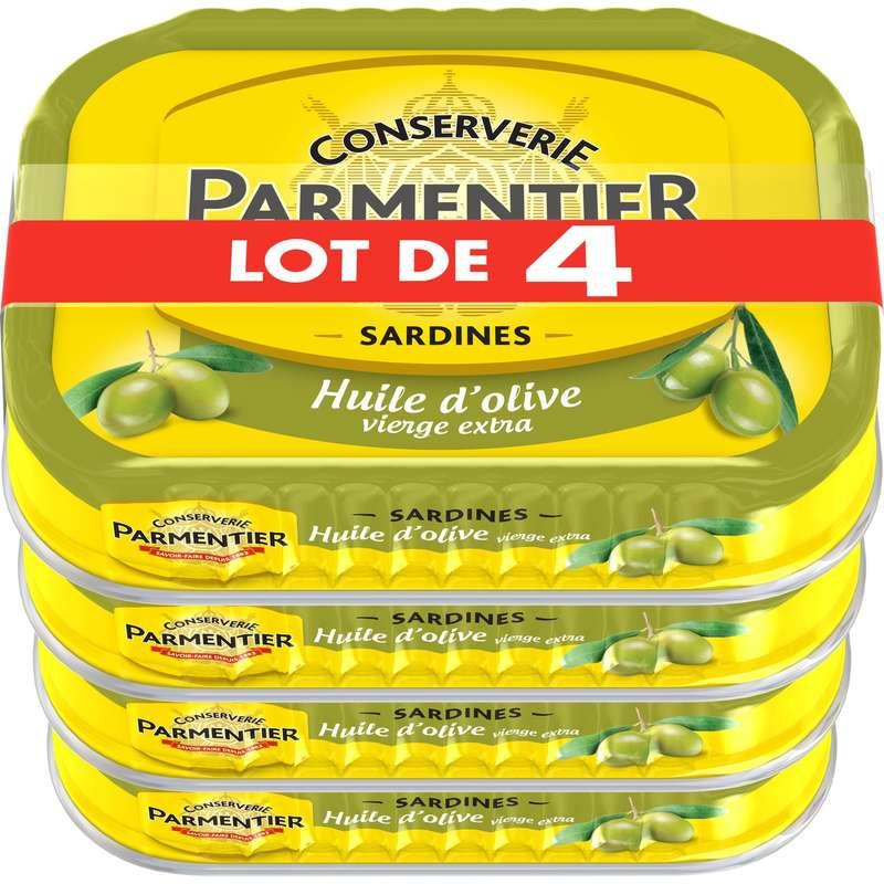 Sardines à l'huile d'olive, Parmentier LOT DE 4 (4 x 135 g)