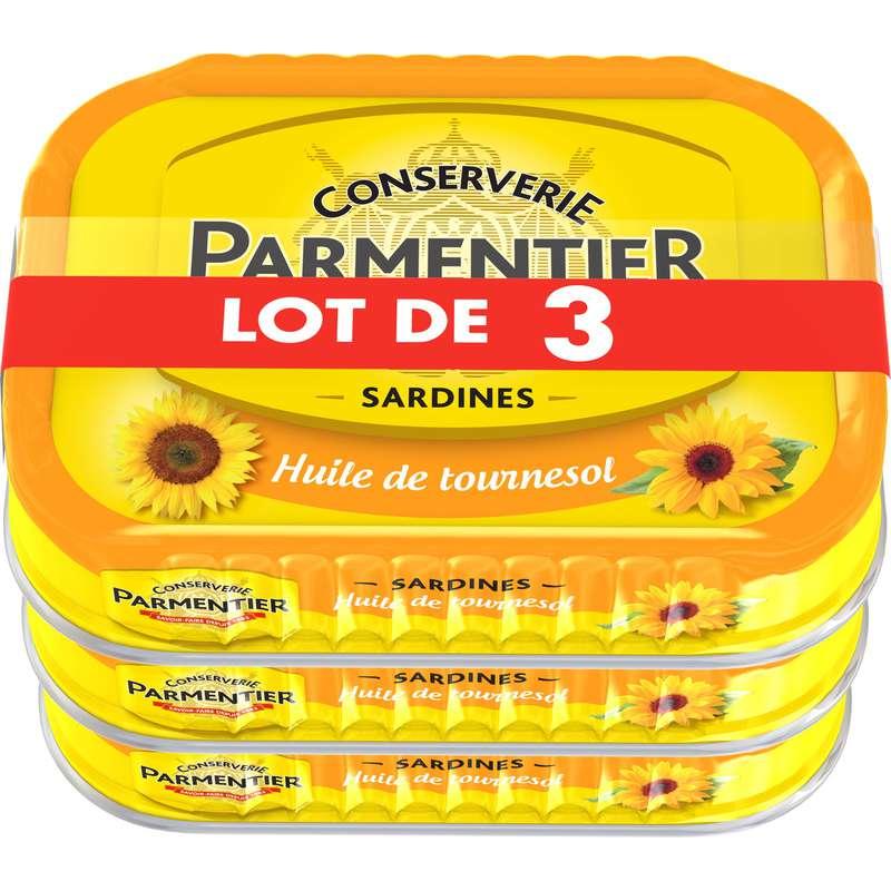 Sardines à l'huile de tournesol, Parmentier LOT DE 3 (3 x 135 g)