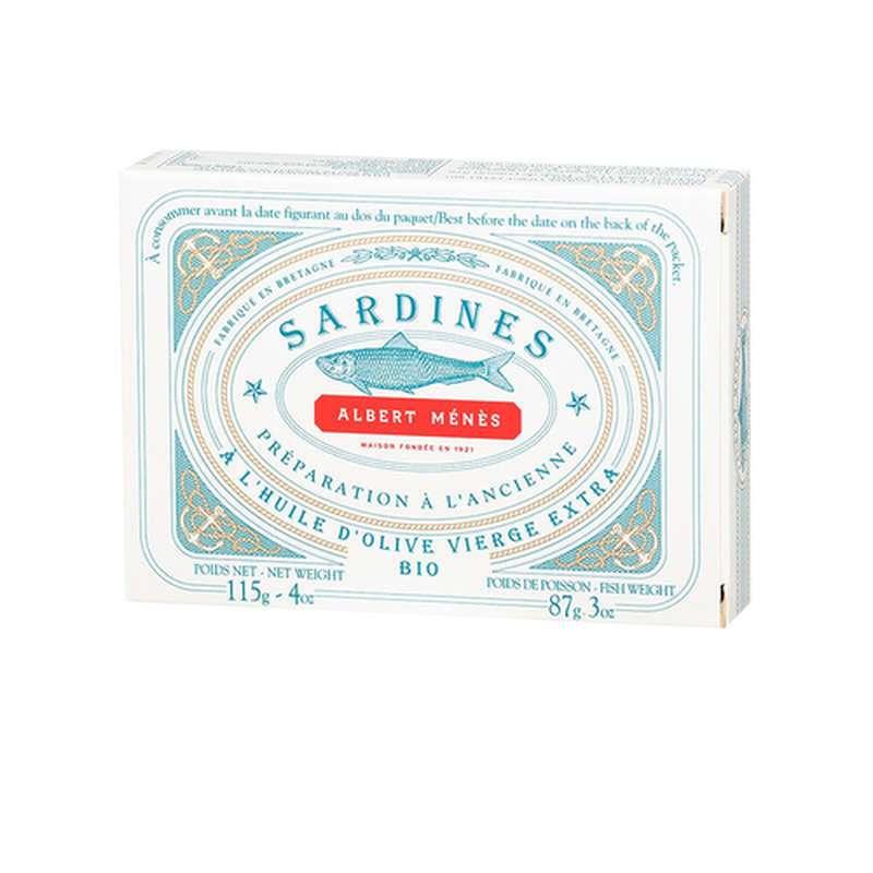 Sardines préparées à l'ancienne à l'huile d'olive vierge extra BIO, Albert Ménès (115 g)