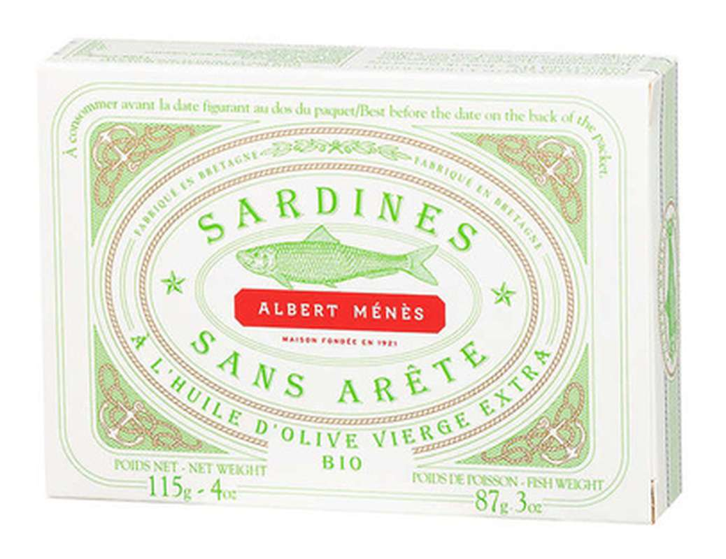 Sardines sans arête à l'huile d'olive vierge extra BIO, Albert Ménès (115 g)