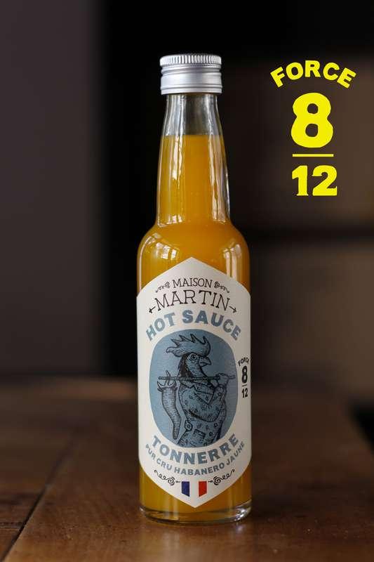 Sauce piquante Tonnerre pur cru Habanero Jaune, Maison Martin (100 ml)