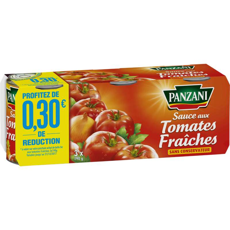 Sauce tomate fraîche, Panzani (x 3, 570 g)