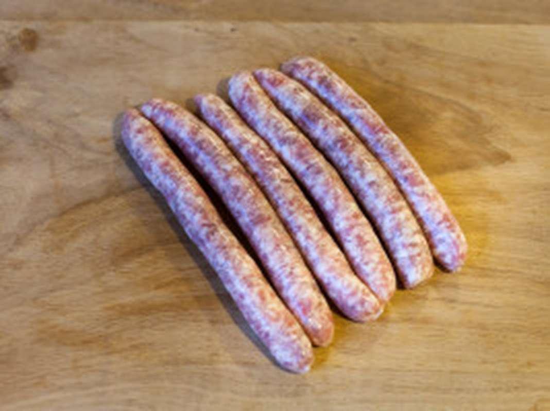 Saucisses, Ferme de Montchervet ( x 4, environ 300 g/ super bon plan!)