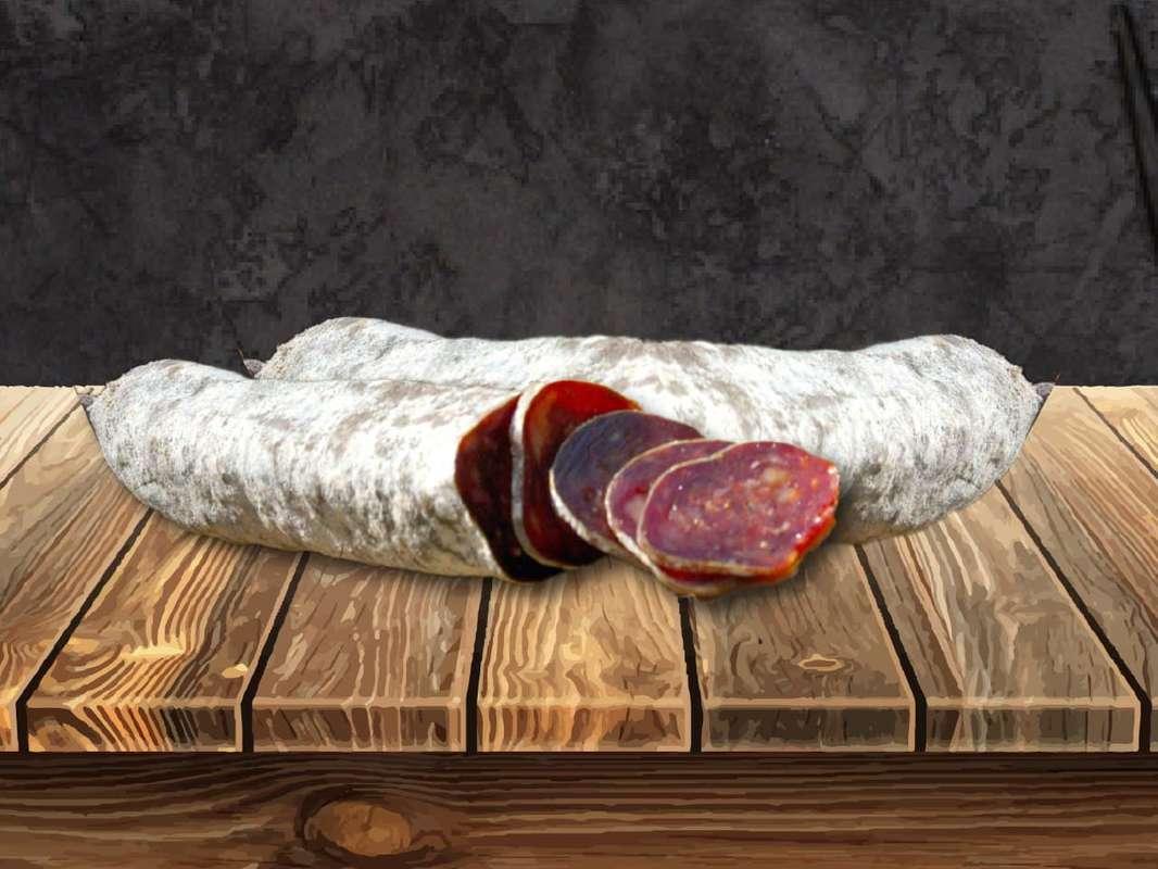 Saucisson sec artisanal de boeuf au piment d'Espelette, La Grise de Bazas (Environ 220 g)
