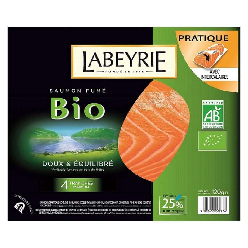 Saumon fumé Atlantique BIO, Labeyrie (4 tranches, 120 g)