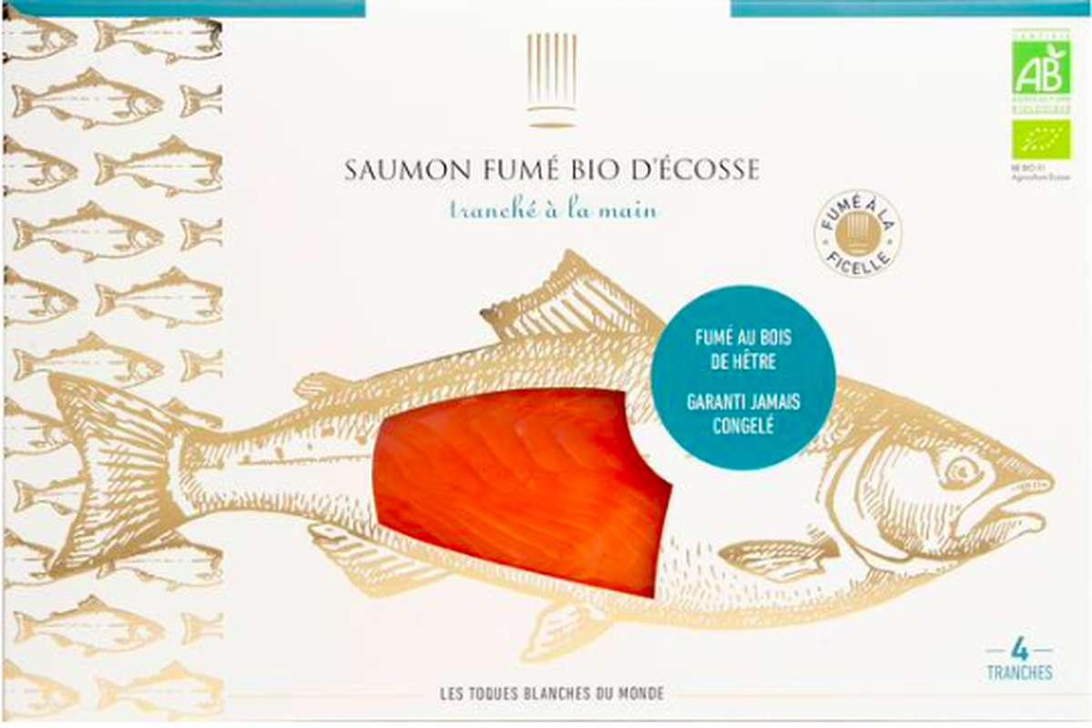 Saumon fumé d'Ecosse BIO, Les Toques Blanches du Monde (4 tranches, 120 g)