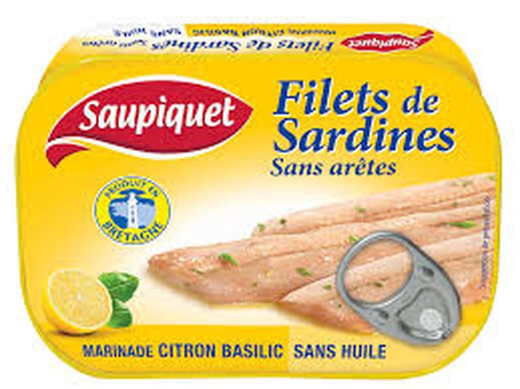 Filet de sardines citron basilic/sans arêtes, Saupiquet (100 g)