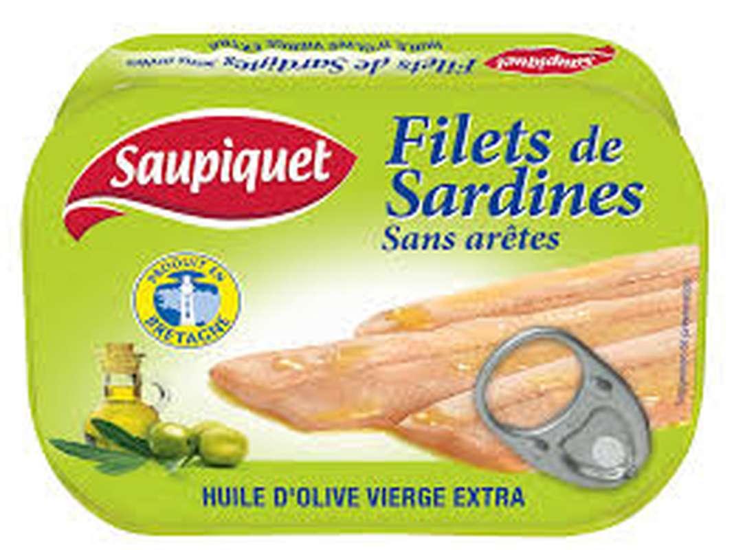 Filet de sardines huile d'olive/sans arêtes, Saupiquet (100 g)