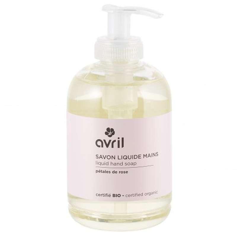 Savon liquide mains pétales de rose certifié BIO, Avril (300 ml)