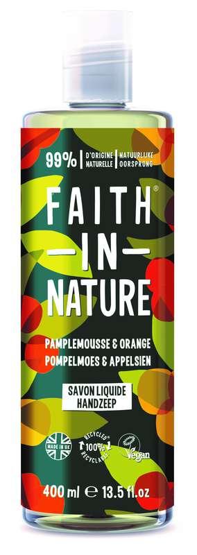 Savon liquide mains Pamplemousse Orange, Faith In Nature (400 ml)