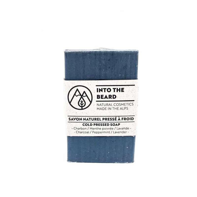 Savon naturel pressé à froid au charbon menthe et lavande, Into the beard (90 g)