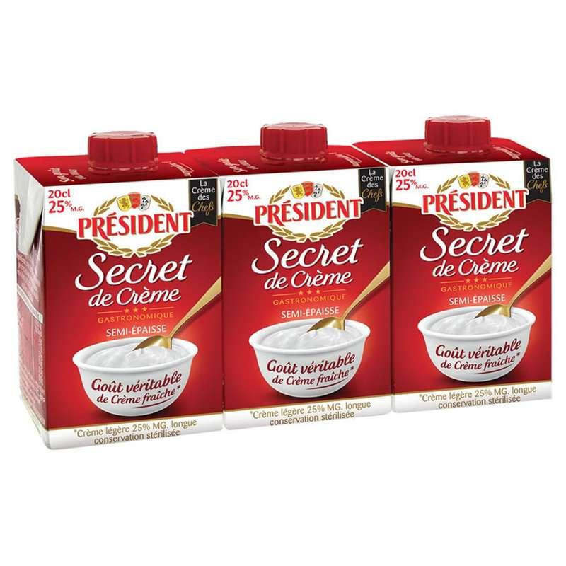 Crème semi-épaisse, Secret de crème 25%, Président (3 x 20 cl)