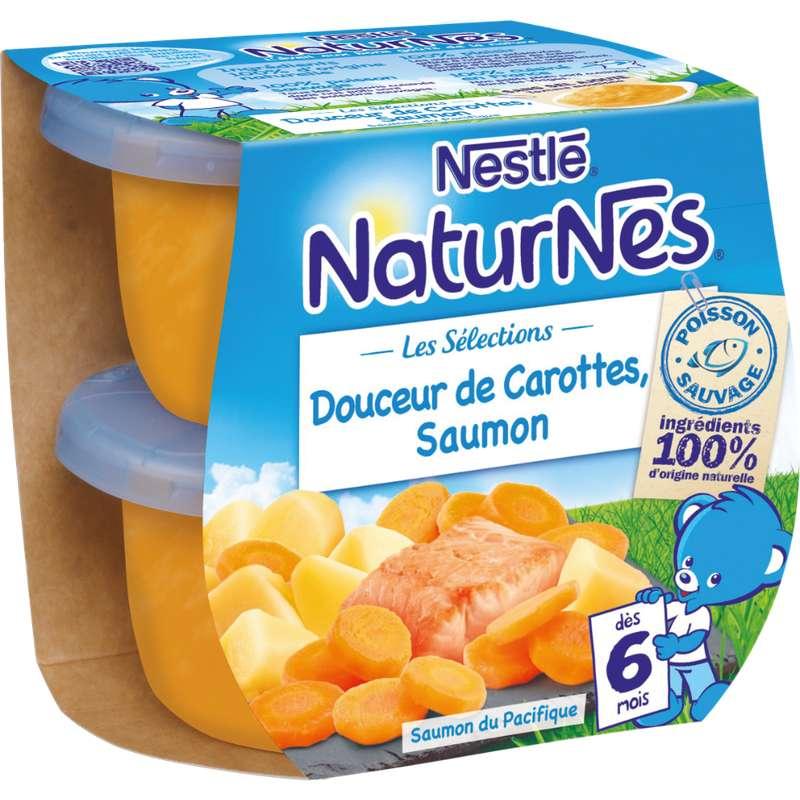 Les sélections douceur de carottes, saumon - dès 6 mois, Naturnes Nestlé (2 x 200 g)