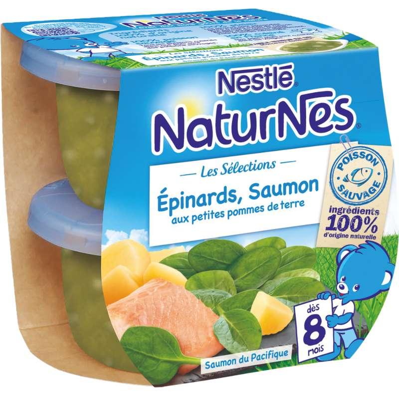 Les sélections épinard, saumon sauvage aux petites pommes de terre - dès 8 mois, Naturnes Nestlé (2 x 200 g)