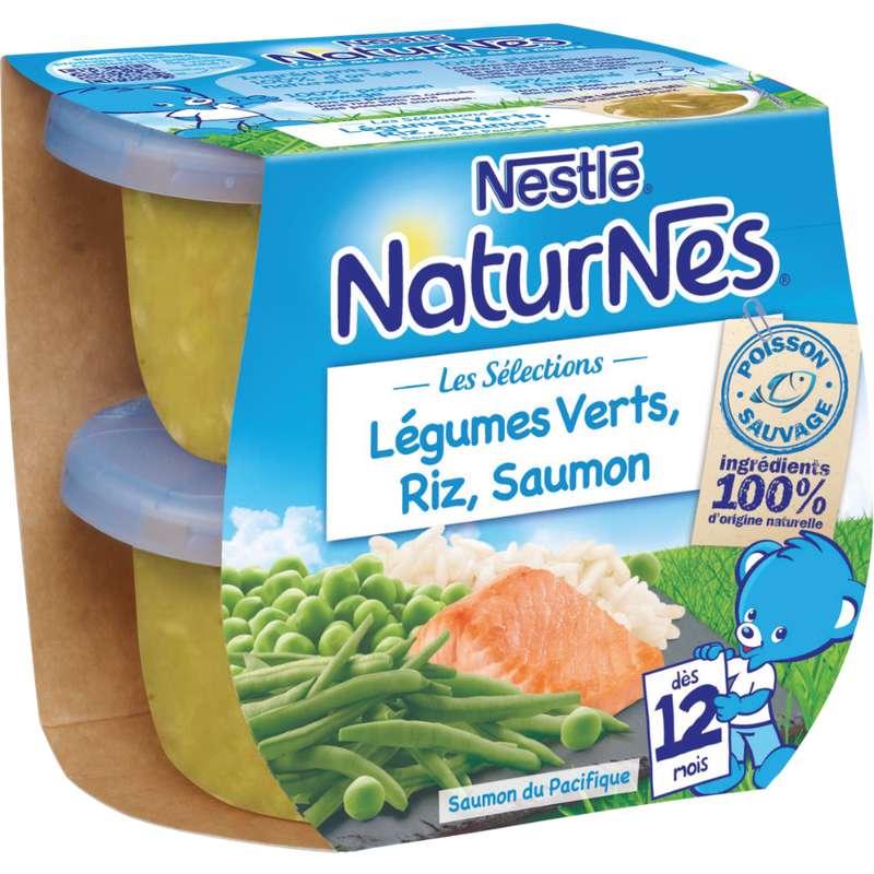 Les sélections légumes verts, riz, saumon - dès 12 mois, Naturnes Nestlé (2 x 200 g)