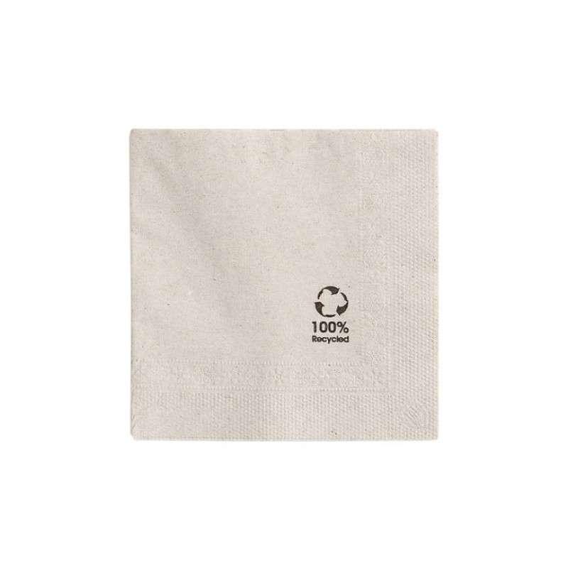 Serviette recyclée double point 25 x 25 cm écolabel 18 gr/m2, pliage 1/4 tissu couleur naturel (x 50)