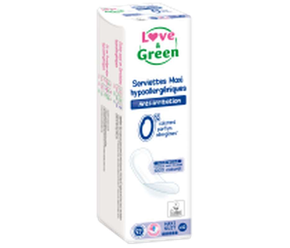 Serviettes maxi hypoallergéniques 0% anti irritation LOVE&GREEN, x12