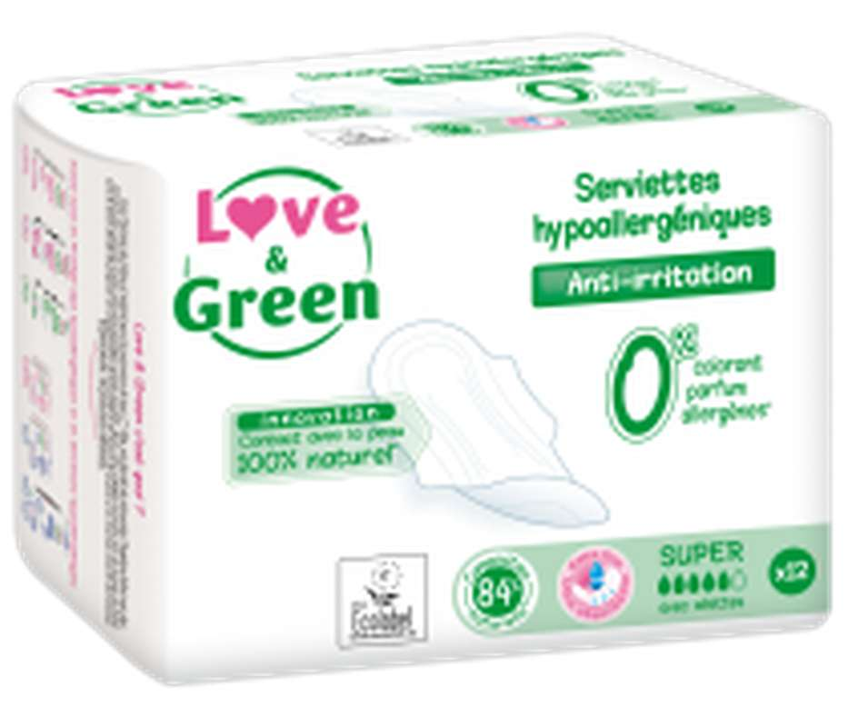 Serviettes super hypoallergéniques, Love & Green (x 12)