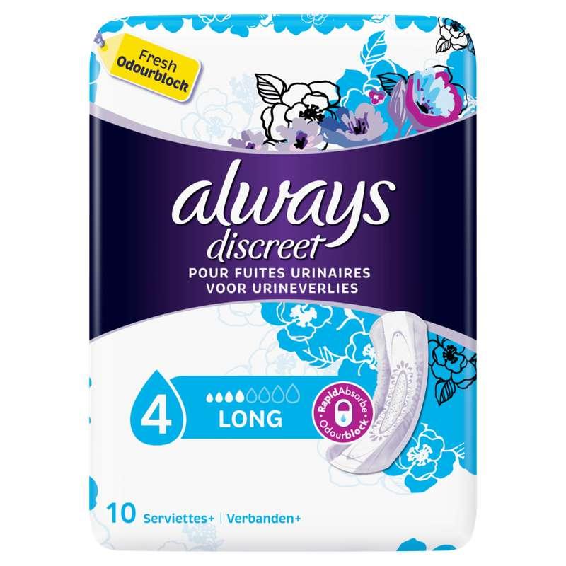 Serviettes pour incontinence long, Always (x 10)
