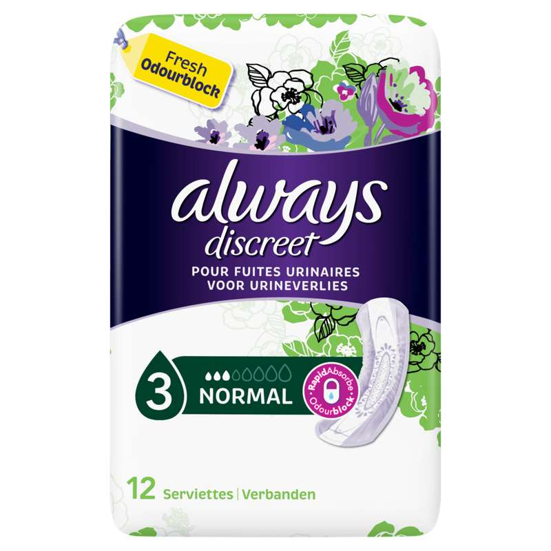Serviettes pour incontinence normal, Always (x 12)
