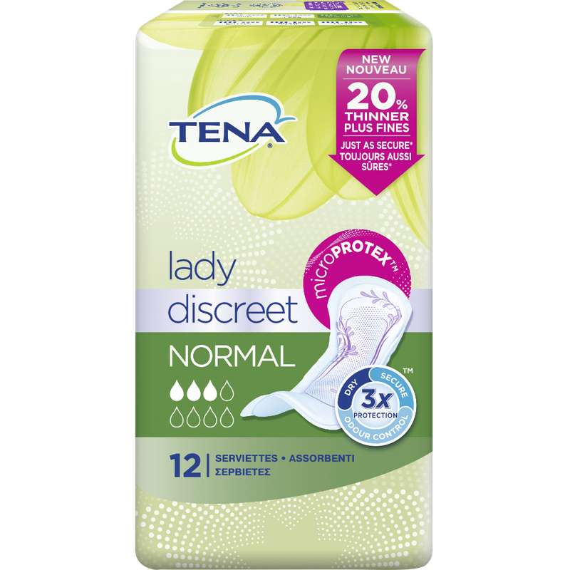 Serviettes pour incontinence normal discreet, Tena Lady (x 12)
