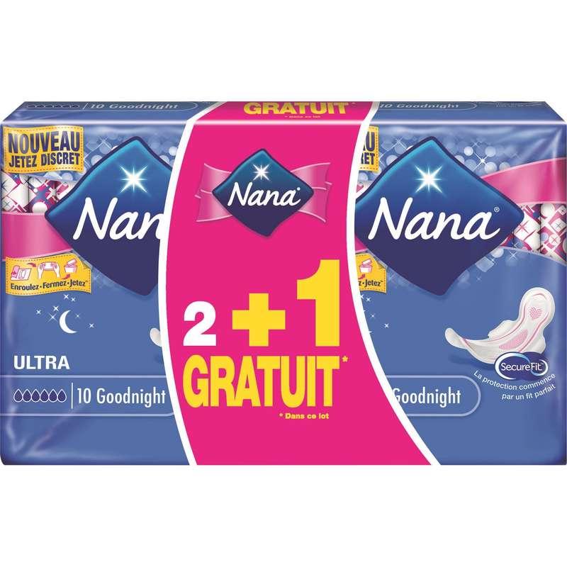 Serviettes Ultra Goodnight, Nana LOT DE 3 (3 x 10)