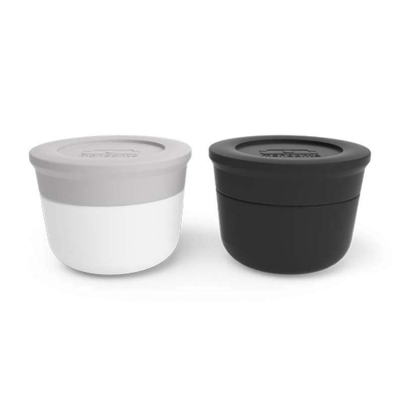 Set de 2 récipients à sauce noir Onyx et gris Coton, Monbento (2 x 10 ml)