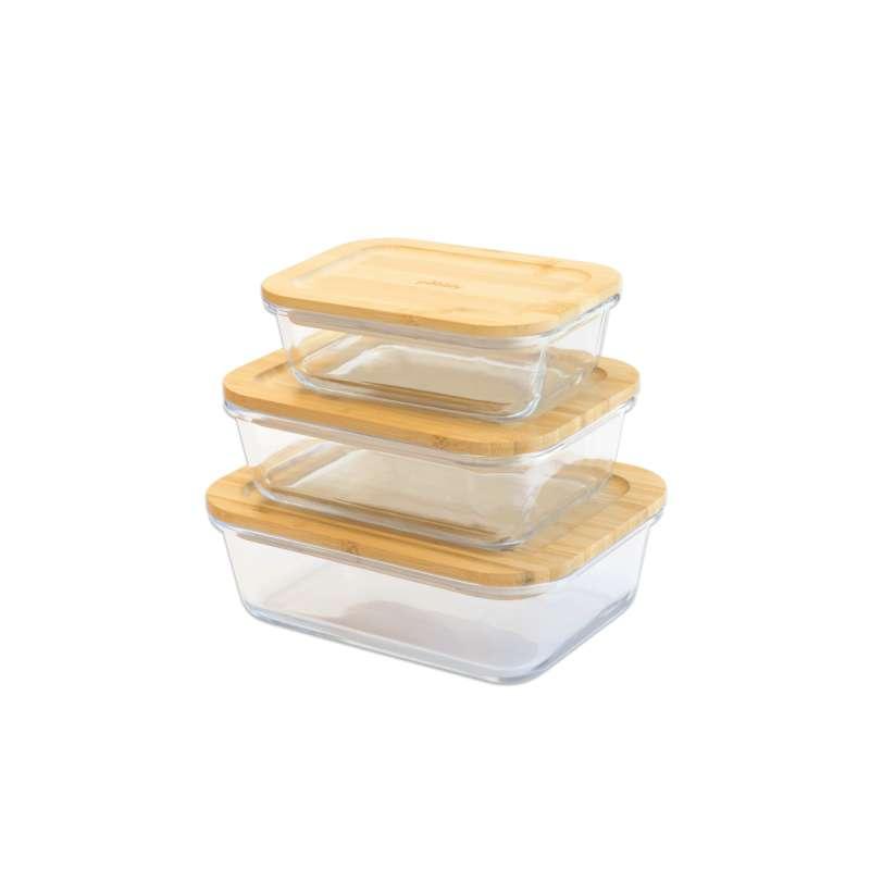 Set de 3 boîtes rectangulaires en verre et bambou, Pebbly