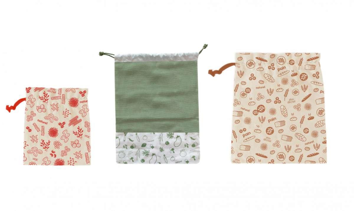 Set de 3 sacs zéro déchet en coton BIO, Pebbly