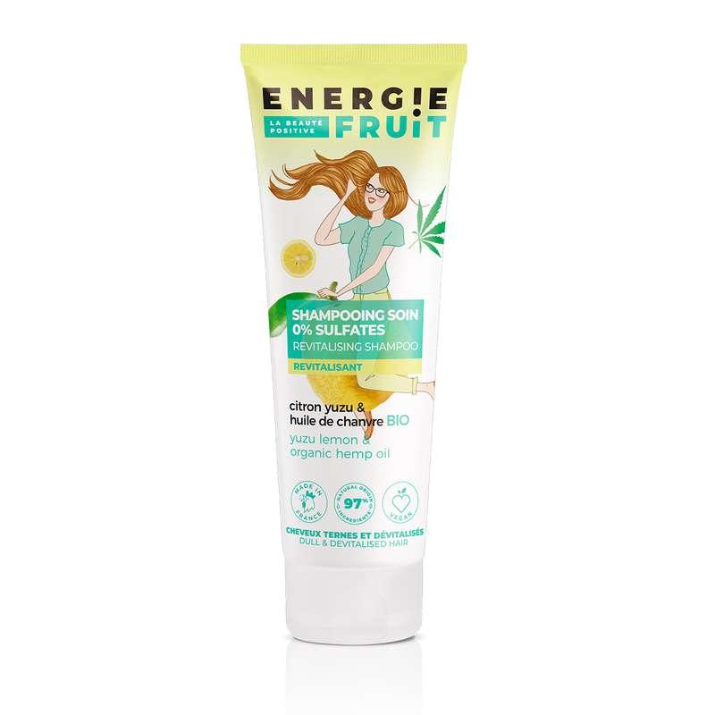 Shampoing pour cheveux secs et ternes citron Yuzu et Chanvre, Energie Fruit (250 ml)