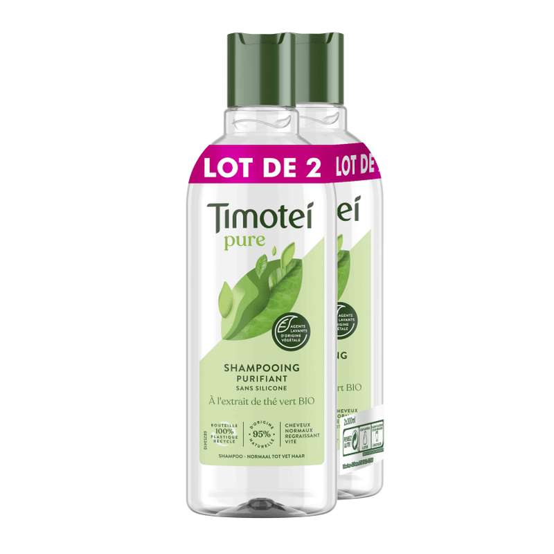 Shampoing purifiant thé Vert, Timotei LOT DE 2 (2 x 300 ml)