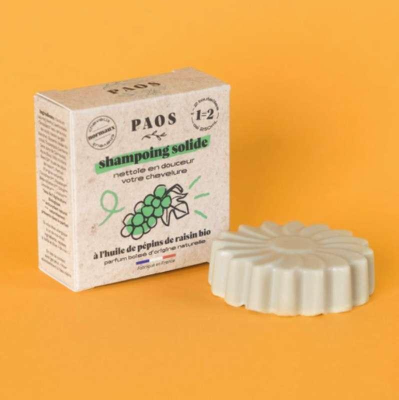 Shampoing solide à l'huile de pépins de raisin BIO, Paos (80 g)