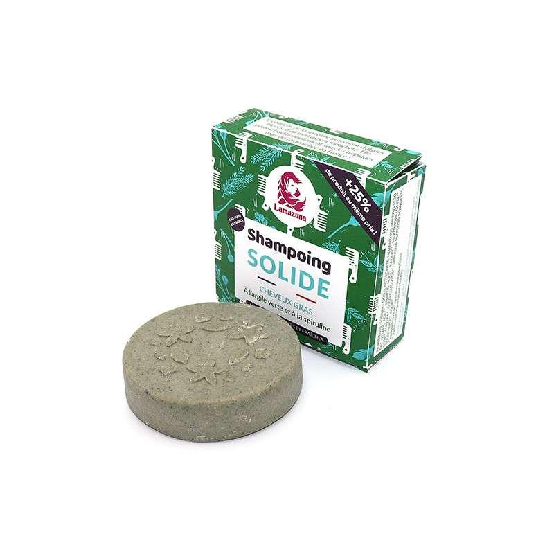 Shampoing solide cheveux gras à l'argile verte et à la spiruline BIO, Lamazuna (70 ml)